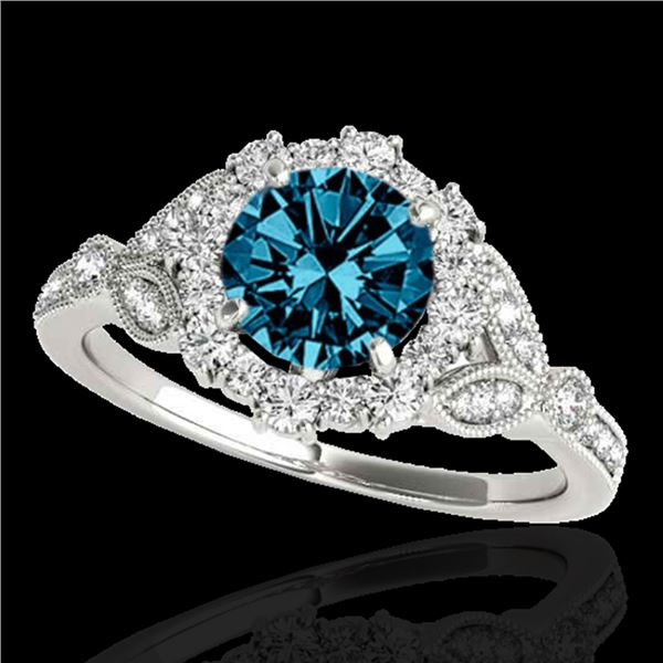 1.5 ctw SI Certified Fancy Blue Diamond Solitaire Halo Ring 10k White Gold - REF-130N9F