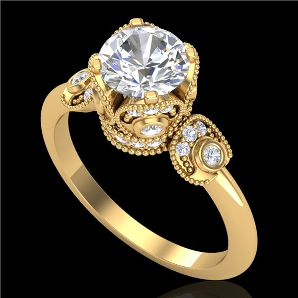 1.75 ctw VS/SI Diamond Art Deco Ring 18k Yellow Gold - REF-398K2Y