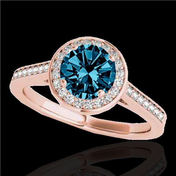 1.33 ctw SI Certified Fancy Blue Diamond Halo Ring 10k Rose Gold - REF-150R2K