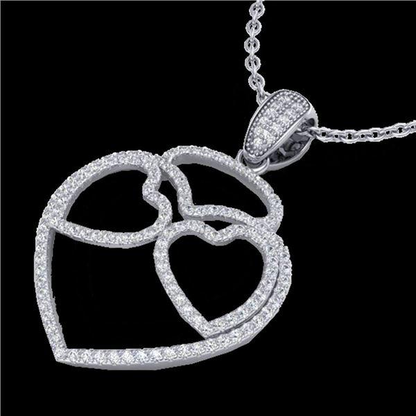 1.20 ctw Micro Pave VS/SI Diamond Heart Necklace 14k White Gold - REF-110G9W