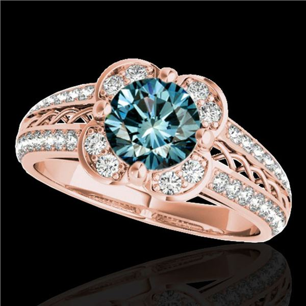 1.5 ctw SI Certified Fancy Blue Diamond Solitaire Halo Ring 10k Rose Gold - REF-135F2M