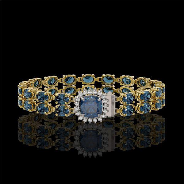 17.87 ctw London Topaz & Diamond Bracelet 14K Yellow Gold - REF-178Y2X