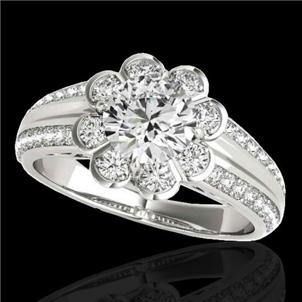 2.05 ctw Certified Diamond Solitaire Halo Ring 10k White Gold - REF-381F8M