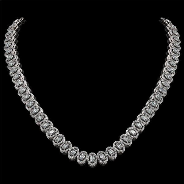 24.19 ctw Oval Cut Diamond Micro Pave Necklace 18K White Gold - REF-2092F6M