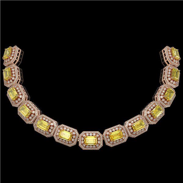 110.45 ctw Canary Citrine & Diamond Victorian Necklace 14K Rose Gold - REF-2357G6W