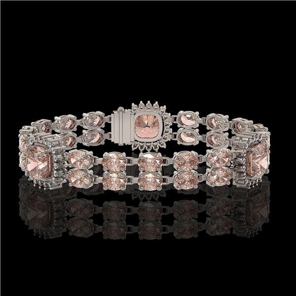 18.59 ctw Morganite & Diamond Bracelet 14K White Gold - REF-331R8K