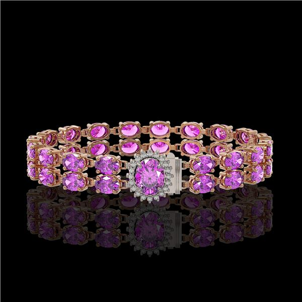 24.82 ctw Amethyst & Diamond Bracelet 14K Rose Gold - REF-218N2F
