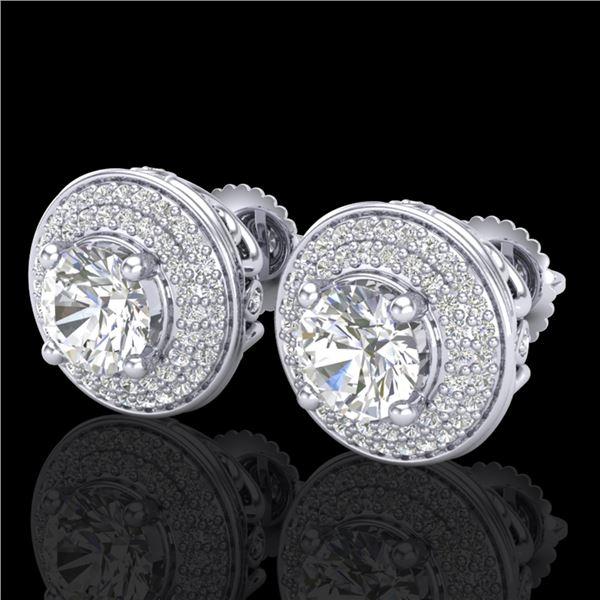 2.35 ctw VS/SI Diamond Solitaire Art Deco Stud Earrings 18k White Gold - REF-345K5Y