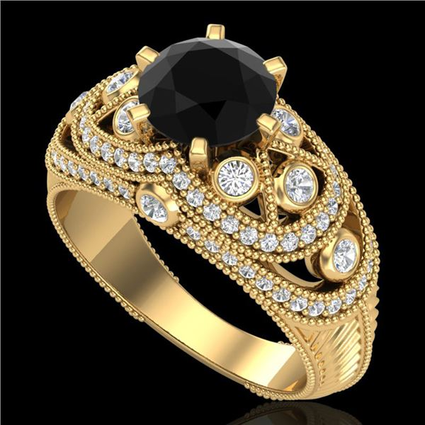 2 ctw Fancy Black Diamond Engagment Art Deco Ring 18k Yellow Gold - REF-161F8M