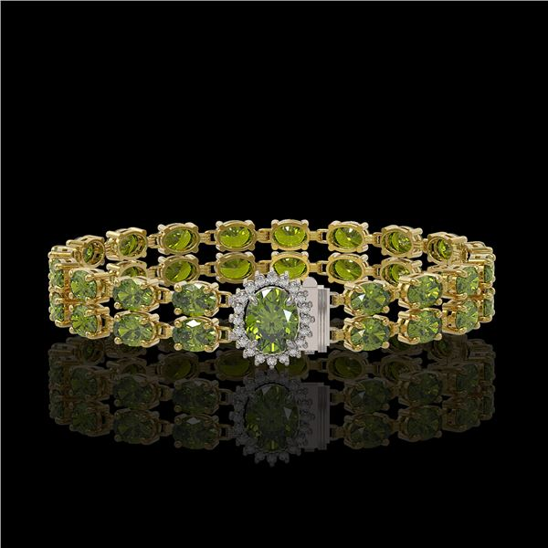 26.92 ctw Tourmaline & Diamond Bracelet 14K Yellow Gold - REF-336H4R