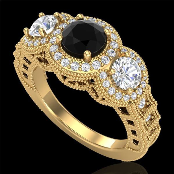 2.16 ctw Fancy Black Diamond Art Deco 3 Stone Ring 18k Yellow Gold - REF-254F5M