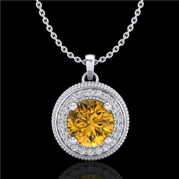 1.25 ctw Intense Fancy Yellow Diamond Art Deco Necklace 18k White Gold - REF-132R8K