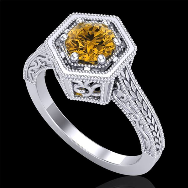 0.77 ctw Intense Fancy Yellow Diamond Art Deco Ring 18k White Gold - REF-145G5W