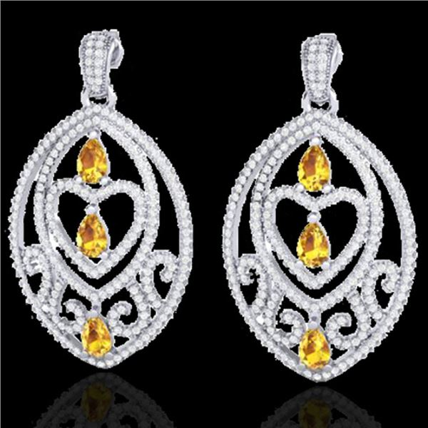 7 ctw Yellow Sapphire & Diamond Heart Earrings 18k White Gold - REF-418W2H