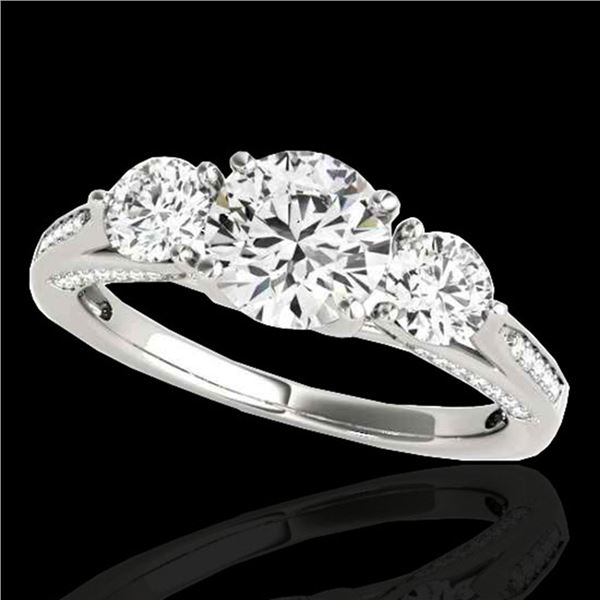 1.75 ctw Certified Diamond 3 Stone Ring 10k White Gold - REF-177A3N