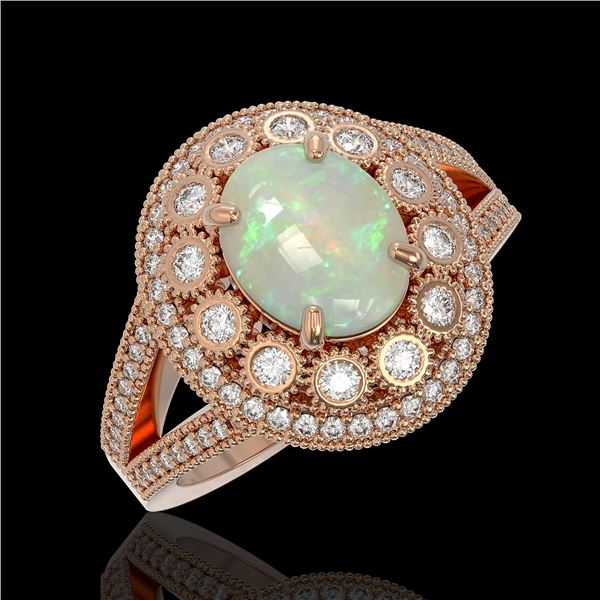 3.93 ctw Certified Opal & Diamond Victorian Ring 14K Rose Gold - REF-149R3K