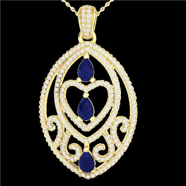 3.50 ctw Sapphire & Micro VS/SI Diamond Heart Necklace 18k Yellow Gold - REF-218W2H