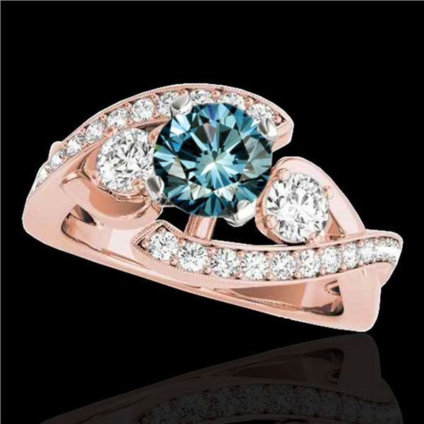 2.26 ctw SI Certified Fancy Blue Diamond Bypass Ring 10k Rose Gold - REF-300Y2X