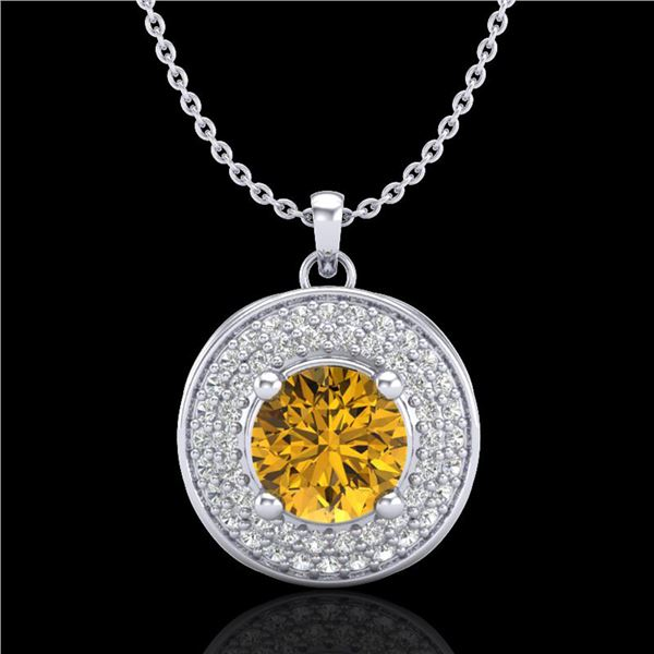 1.25 ctw Intense Fancy Yellow Diamond Art Deco Necklace 18k White Gold - REF-161Y8X