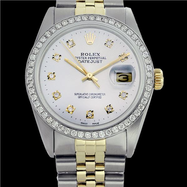Rolex Men's Two Tone 14K Gold/SS, QuickSet, Diamond Dial & Diamond Bezel