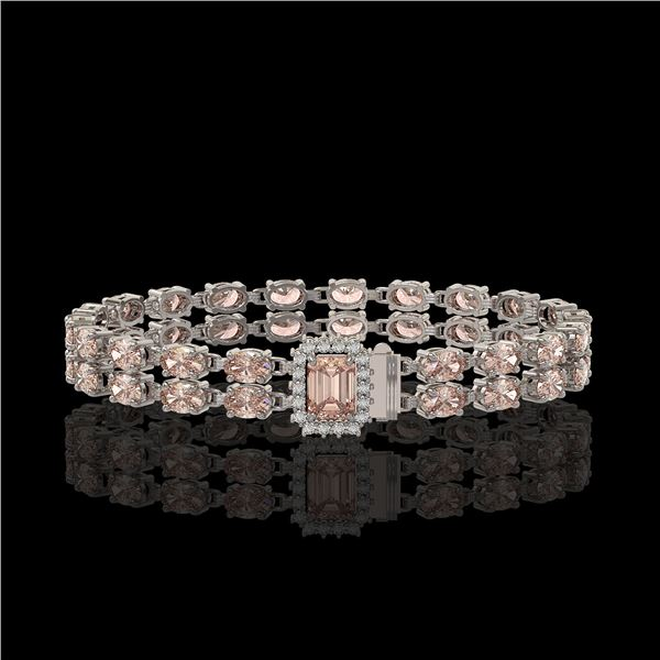 16.35 ctw Morganite & Diamond Bracelet 14K White Gold - REF-236W4H