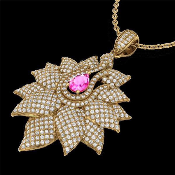3 ctw Pink Sapphire & Micro Pave VS/SI Diamond Necklace 18k Yellow Gold - REF-290K9Y