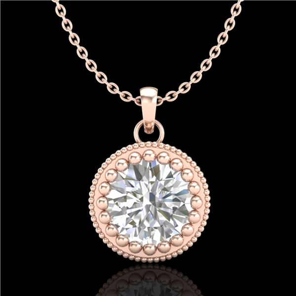 1 ctw VS/SI Diamond Solitaire Art Deco Necklace 18k Rose Gold - REF-292F5M