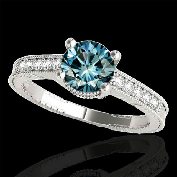1.2 ctw SI Certified Fancy Blue Diamond Antique Ring 10k White Gold - REF-125Y5X