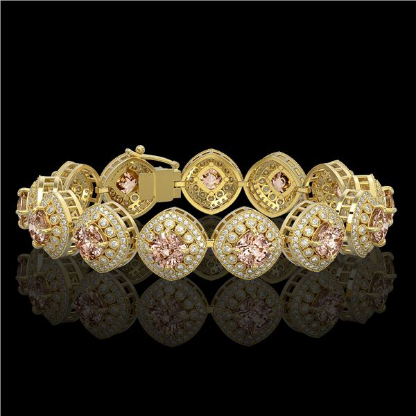 31.35 ctw Morganite & Diamond Victorian Bracelet 14K Yellow Gold - REF-1063N3F