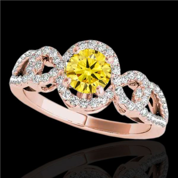 1.38 ctw Certified SI/I Fancy Intense Yellow Diamond Ring 10k Rose Gold - REF-188A2N