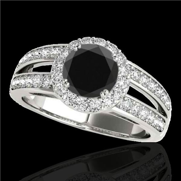 1.6 ctw Certified Black Diamond Solitaire Halo Ring 10k White Gold - REF-64A3N