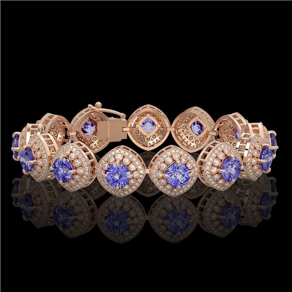 38.1 ctw Tanzanite & Diamond Victorian Bracelet 14K Rose Gold - REF-1136R8K