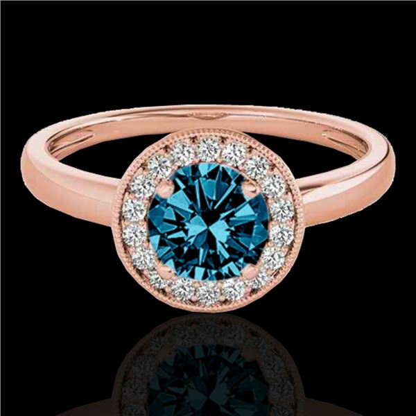 1.15 ctw SI Certified Fancy Blue Diamond Halo Ring 10k Rose Gold - REF-132F3M