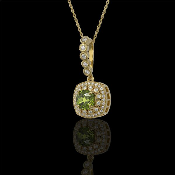 2.25 ctw Tourmaline & Diamond Victorian Necklace 14K Yellow Gold - REF-81M3G