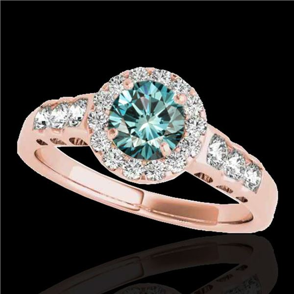 1.55 ctw SI Certified Fancy Blue Diamond Halo Ring 10k Rose Gold - REF-150M2G