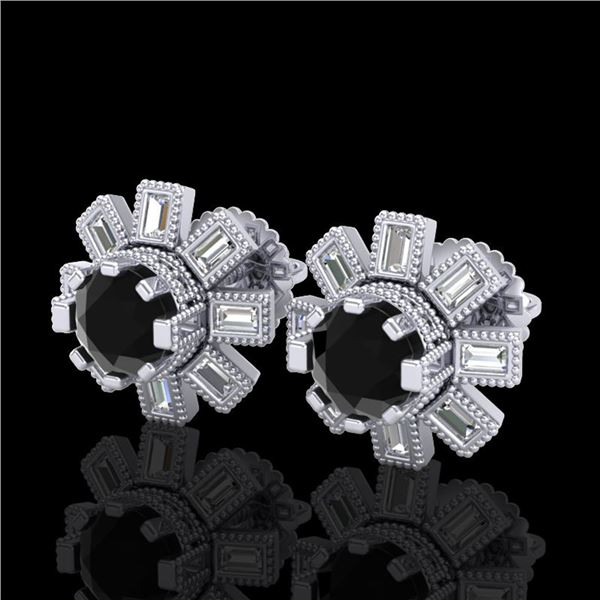 1.77 ctw Fancy Black Diamond Art Deco Stud Earrings 18k White Gold - REF-118R2K