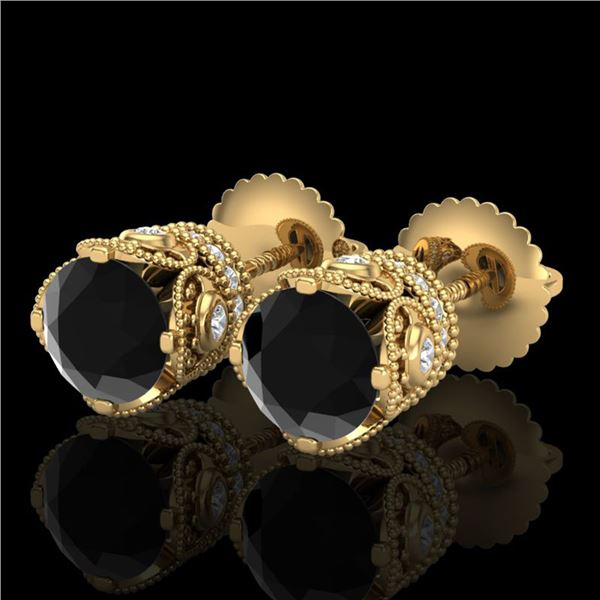 1.85 ctw Fancy Black Diamond Art Deco Stud Earrings 18k Yellow Gold - REF-107K3Y