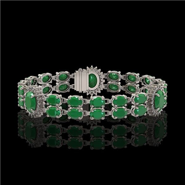 20.99 ctw Emerald & Diamond Bracelet 14K White Gold - REF-263R6K