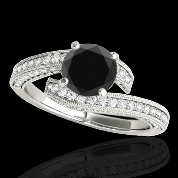 2 ctw Certified VS Black Diamond Bypass Solitaire Ring 10k White Gold - REF-80H5R