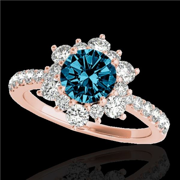 2 ctw SI Certified Blue Diamond Solitaire Halo Ring 10k Rose Gold - REF-163H6R