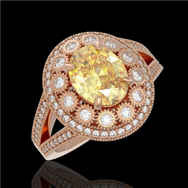 3.75 ctw Canary Citrine & Diamond Victorian Ring 14K Rose Gold - REF-129R3K