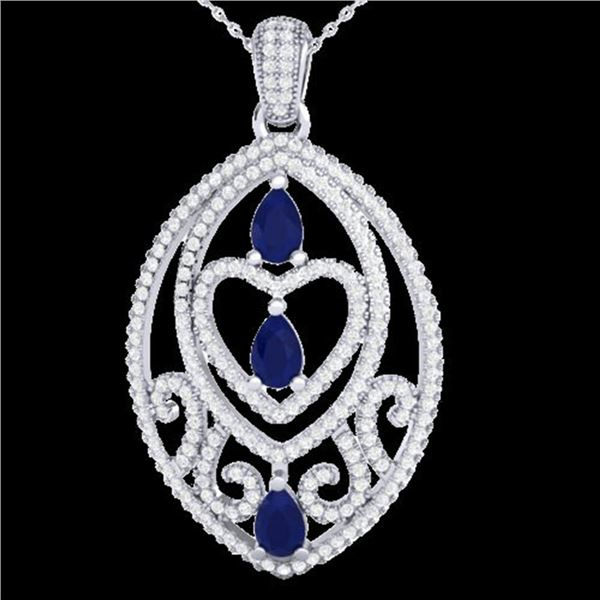 3.50 ctw Sapphire & Micro VS/SI Diamond Heart Necklace 18k White Gold - REF-218M2G