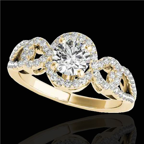 1.38 ctw Certified Diamond Solitaire Halo Ring 10k Yellow Gold - REF-188R2K