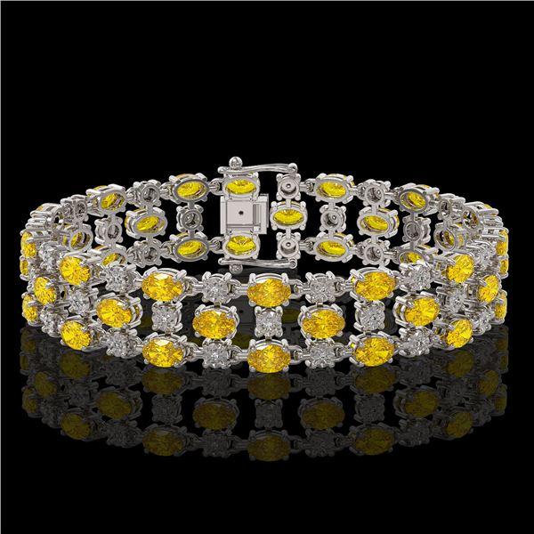 12.7 ctw Fancy Citrine & Diamond Row Bracelet 10K White Gold - REF-209X3A