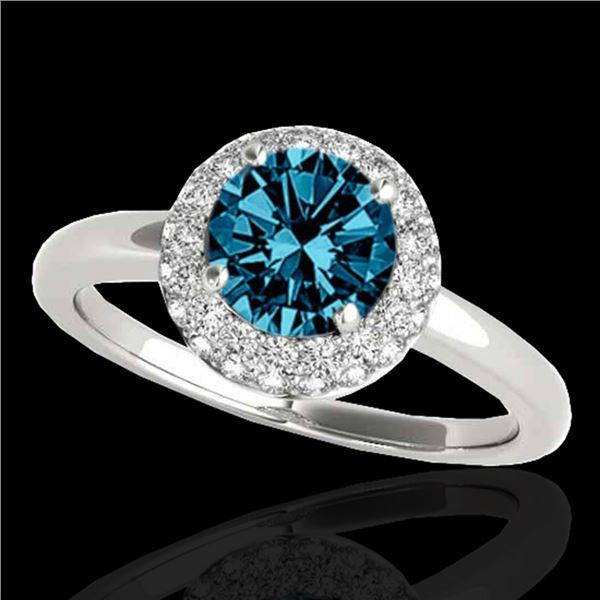 1.43 ctw SI Certified Fancy Blue Diamond Halo Ring 10k White Gold - REF-126A8N