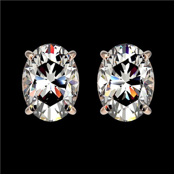 2 ctw Certified VS/SI Quality Oval Diamond Stud Earrings 10k Rose Gold - REF-478R6K