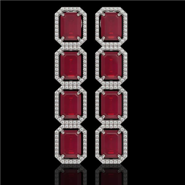20.59 ctw Ruby & Diamond Micro Pave Halo Earrings 10k White Gold - REF-230N9F