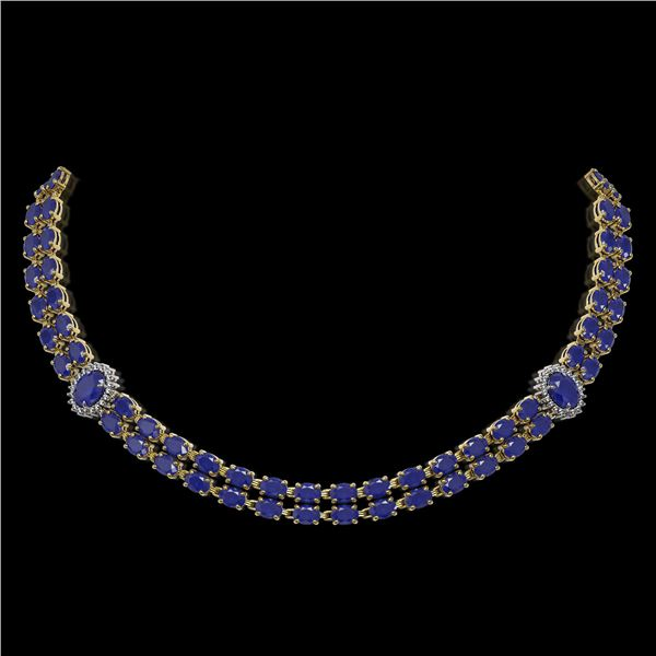 43.13 ctw Sapphire & Diamond Necklace 14K Yellow Gold - REF-527A3N