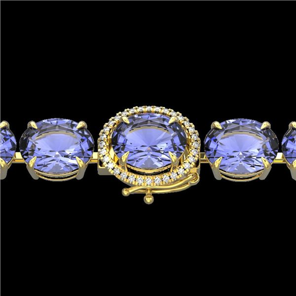 75 ctw Tanzanite & Micro VS/SI Diamond Bracelet 14k Yellow Gold - REF-1236A4N