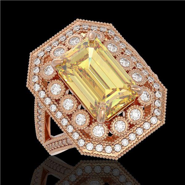 5.85 ctw Canary Citrine & Diamond Victorian Ring 14K Rose Gold - REF-145X6A